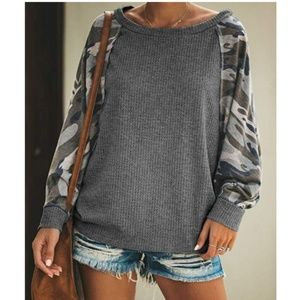 MAUREENA Contrast Sleeve Pullover